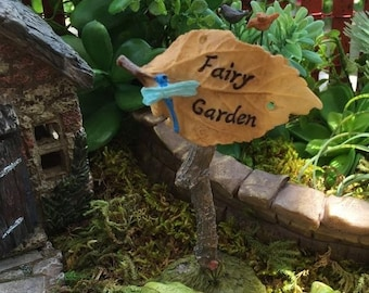 SALE Miniature Fairy Garden Leaf Sign With Dragonfly, Style 49, Clearance, Fairy Garden Sign, Fairy Garden Accessory, Miniature Home and Gar