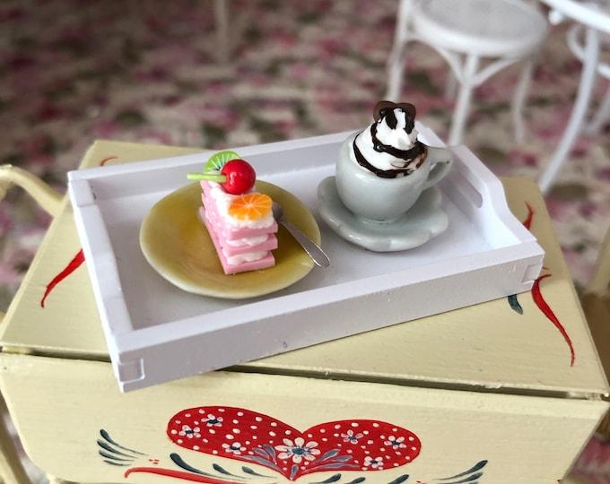 Miniature Dessert Tray, Mini White Tray with Desserts, Dollhouse Miniature, 1:12 Scale, Dollhouse Food, Dollhouse Accessory, Decor