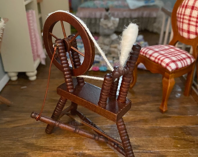 Miniature Spinning Wheel, Walnut Finish Wood Wheel, Dollhouse Miniature, 1:12 Scale, Dollhouse Decor, Accessory