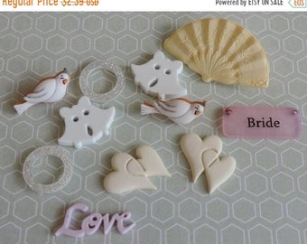 "SALE Wedding Buttons, Packaged Novelty Button Assortment, ""Here Comes the Bride"" by Buttons Galore, Style 4414, Embellishments, Sewing"