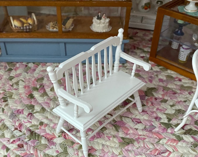 Miniature White Deacon Bench, Style #10, Mini Wood Bench, Dollhouse Miniature Furniture, 1:12 Scale, Wood Dollhouse Furniture
