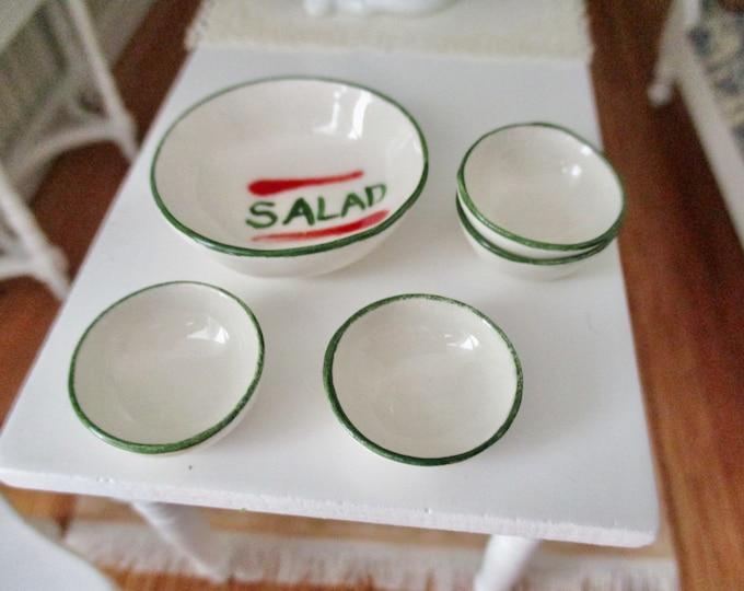Miniature Porcelain Salad Bowl Set, 5 Piece Bowl Set, Dollhouse Miniature, 1:12 Scale, Dollhouse Decor, Accessory
