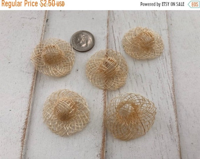 SALE Miniature Woven 1 Inch Hats, Set of 5 Miniature Hats, Woven Sinamay Hats