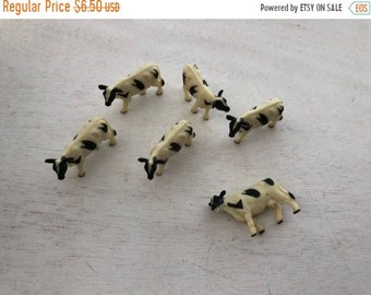 SALE Miniature Cows, Set of 6 Black and White Cows, Standing Plastic Cows, Great for Crafts, Toppers, Embellishments