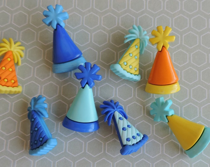 """Party Hat Buttons, Packaged Novelty Button Assortment by Buttons Galore, """"Party Hats"""" Style 4168, Shank Back Buttons, Sewing, Crafting"""