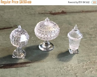SALE Candy Dish Set, Dollhouse Miniatures, 1:12 Scale, Dollhouse Accessories, Decor, Clear Dishes, Dollhouse Decor, Crafts, Embellishment