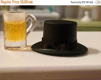 SALE Miniature Black Top Hat, Dollhouse Miniature, Mini Hat with Band, Dollhouse Decor, Accessory