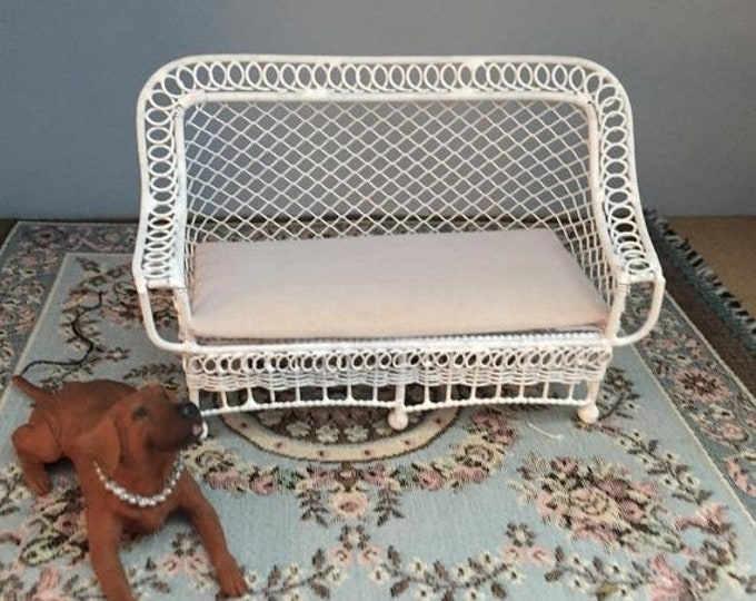 SALE Miniature Couch, Bar Harbor Style Wicker Look Couch With Cushion,  White Metal Couch, Dollhouse Miniature Furniture, 1:12 Scale, Mini C