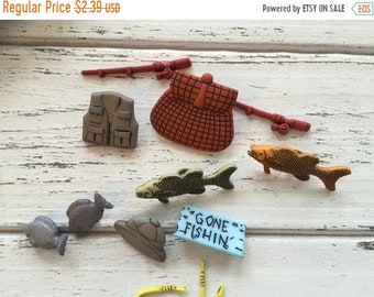 "SALE Fishing Buttons, Packaged Novelty Button Assortment ""Fishing"" Style #4000 by Buttons Galore, Fish, Gone Fishing Sign, Basket, Hat, Vest"
