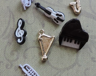 """Music Buttons, Packaged Button Assortment """"Music"""" Style 4098 by Buttons Galore, Piano, Harp, Trumpet, Saxophone, Musical Note, Sewing, Craft"""