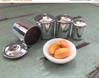 SALE Miniature Stainless Steel Canister Set, Dollhouse Miniature, 1:12 Scale, Canisters With Removable Lids, Dollhouse Accessory, Decor, Cra