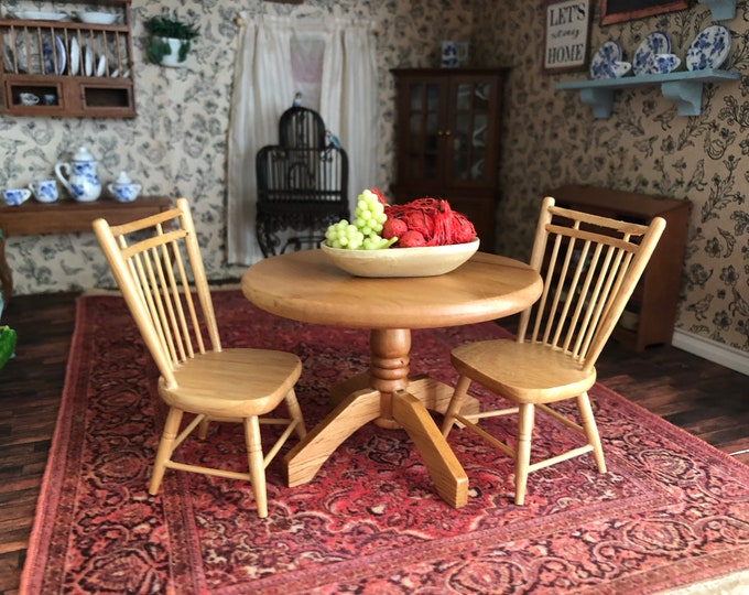 Miniature Table and Chairs, Oak Finish Round Table With 2 Chairs, Clearance Priced, Dollhouse Miniature Furniture, 1:12 Scale