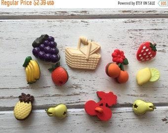"SALE Fruit Buttons Packaged Novelty Buttons, Packaged Assortment by Buttons Galore ""Fruit Basket"" Style 4095, Shank Back Buttons, Embellishm"