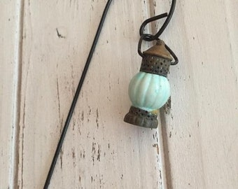 SALE Mini Lantern and Shepherd Hook, Firefly Lamp, Fairy Garden Accessory, Miniature Garden Decor, Mini Blue Lamp and Hook