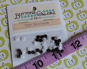 SALE Micro Buttons, Black and White Tiny Buttons, 2 Hole, 4mm Buttons by Buttons Galore, Style #1811, Sewing, Crafting Buttons, Embellishmen