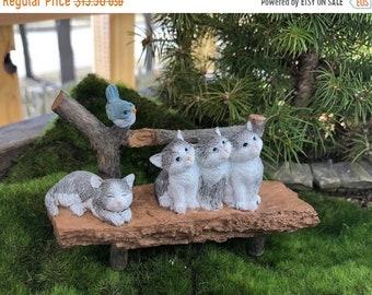 SALE Mini Bench With Kittens and Bird, Wood Look Bench #53, Fairy Garden Accessory, Garden Decor, Miniature Garden Decor, Shelf Sitter, Topp