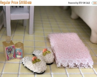 SALE Miniature Bathroom Set, Pink Towel, Slippers and Lotion Bottles, Dollhouse Miniatures, 1:12 Scale, Dollhouse Bathroom Accessories