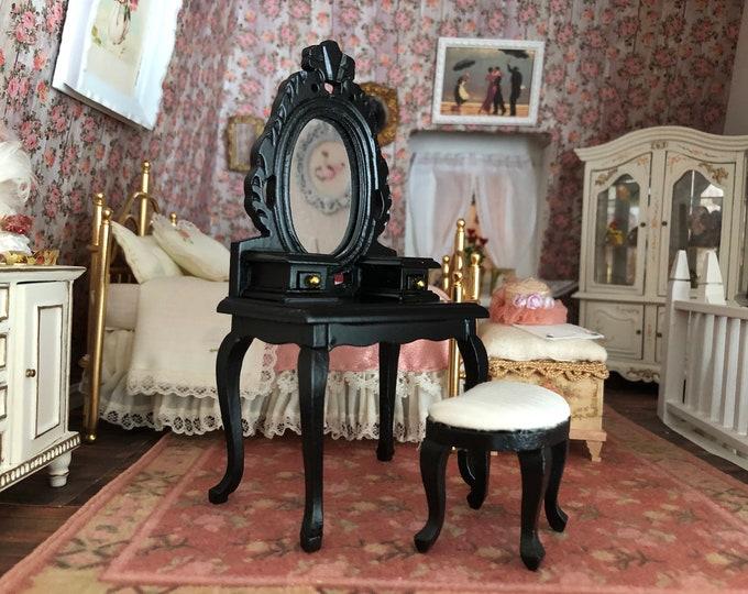 Miniature Vanity and Stool Set, Mini Black Wood Vanity and Stool, Clearance Priced, Dollhouse Miniature Furniture, 1:12 Scale