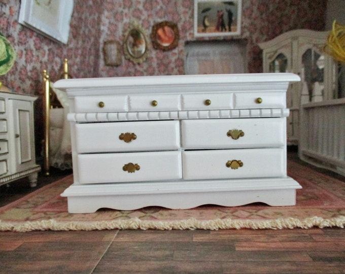 Miniature White Dresser, Mini Wood Dresser, Dollhouse Miniature Furniture, 1:12 Scale, Mini Wood Dresser Chest