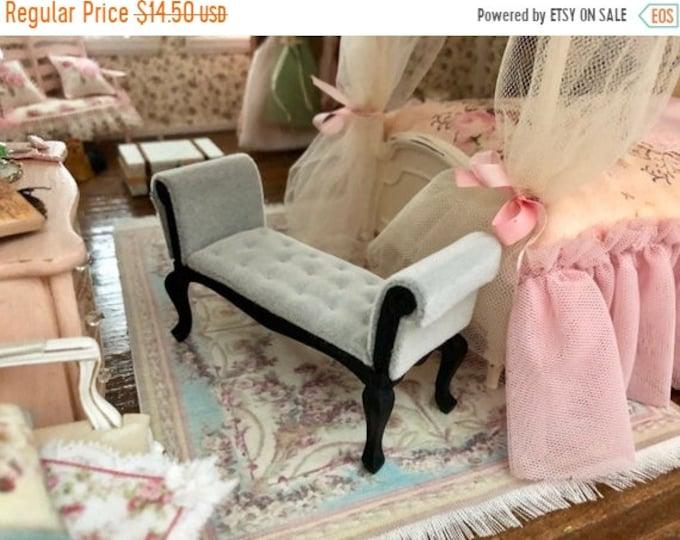 SALE Miniature Settee, Black With Gray Cushion, Mini Bench Seat, Dollhouse Miniature, 1:12 Scale, Dollhouse Furniture