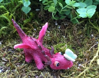 SALE Mini Red Dragon With Butterfly Figurine, #4528, Fairy Garden Accessory, Garden Decor, Enchanted Story, Topper, Shelf Sitter