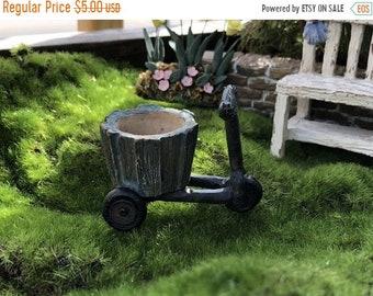 SALE Mini Bicycle Planter, Wood Look Distressed Planter, Fairy Garden Accessory, Miniature Garden Decor, Shelf Sitter, Crafts, Topper