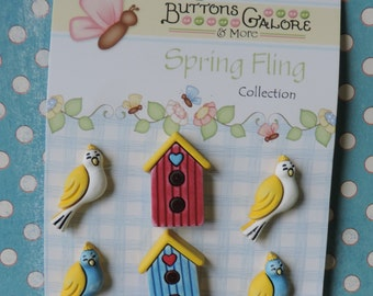Bird and Birdhouse Buttons Spring Fling Collection by Buttons Galore Carded Shank Back
