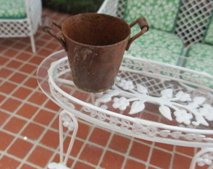 Miniature Bucket, Rusty Distressed Old Look Bucket With Handles, Dollhouse Miniature, 1:12 Scale, Dollhouse Accessory, Decor