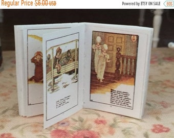 SALE Miniature Nursery Rhymes Readable Book, Antique Reproduction With Color Pages, Dollhouse Miniature, 1:12 Scale, Mini Book, Mother Goose