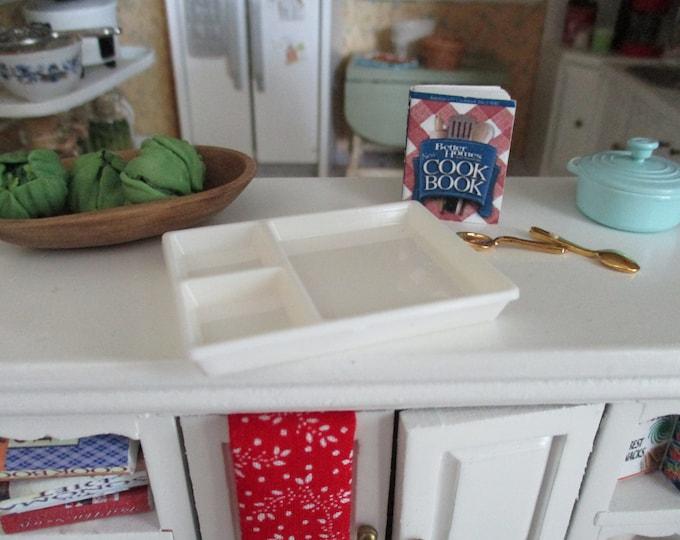 Miniature Partitioned Tray, Mini White Divided Tray, Dollhouse Miniature, 1:12 Scale, Dollhouse Accessory, Decor
