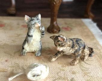 SALE Miniature Kittens, Playing Kitten Set, 2 Kittens Gray and Brown, Dollhouse Miniature, 1:12 Scale, Dollhouse Pets, Mini Kitty Cat Figuri