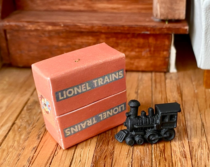 Miniature Train Box, Mini Toy Train Box, Dollhouse Miniature, 1:12 Scale, Dollhouse Accessory, Decor, Crafts