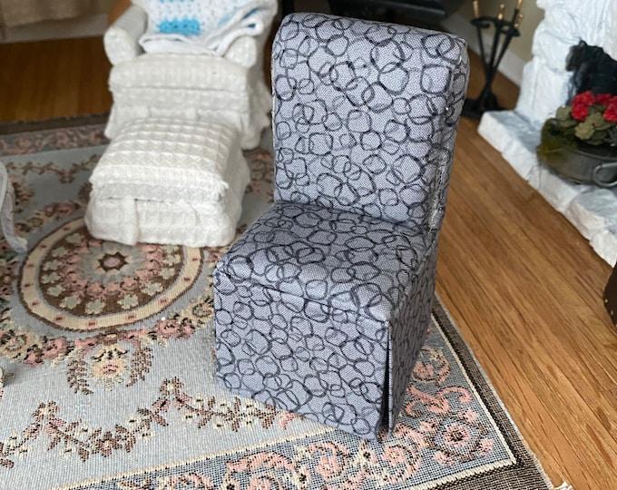 Miniature Chair, Gray and Black Slipper Chair, Mini Fabric Covered Chair, Dollhouse Miniature, 1:12 Scale, Dollhouse Furniture, Mini Chair