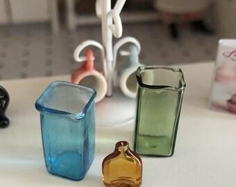 SALE Miniature Square Glass Vase, Choose Blue or Green,  Dollhouse Miniature, 1:12 Scale, Dollhouse Decor, Accessory, Vase