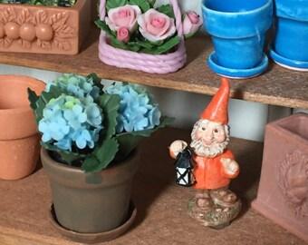 Miniature Blue Hydrangeas, Hydrangeas in Clay Flower Pot With Removable Saucer, Dollhouse Miniature, 1:12 Scale, Miniature Flowers