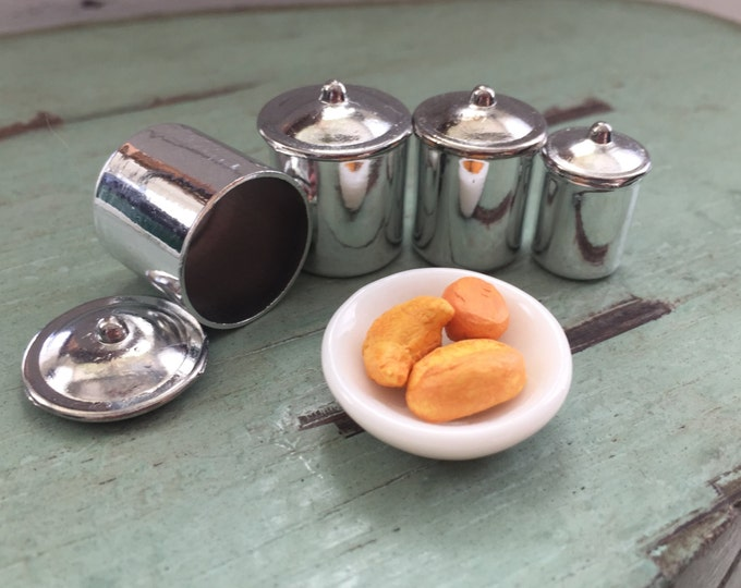 Miniature Stainless Steel Canister Set, Dollhouse Miniature, 1:12 Scale, Canisters With Removable Lids, Dollhouse Accessory, Decor, Crafts