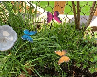 SALE Mini Butterflies, Mini Butterfly Picks, Set of 3, Garden Picks, Fairy Garden Accessory, Miniature Garden Decor, Crafts