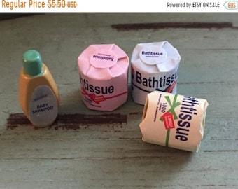 SALE Miniature Bath Tissue Toilet Paper, Bath Accessories by Timeless Minis, Packaged Set 4 Pcs, Dollhouse Miniatures, 1:12 Scale, Bathroom