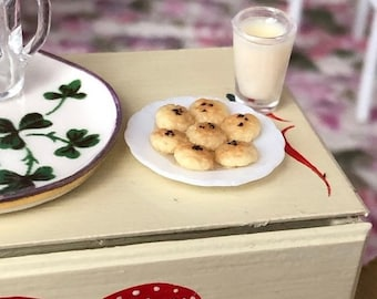 SALE Miniature Cookies and Milk, Filled Milk Glass and Cookies on Plate, Dollhouse Miniature, 1:12 Scale, Dollhouse Food, Mini Food