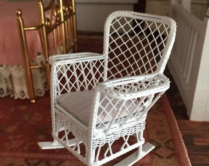 SALE Miniature Rocking Chair, Magazine Rocker, White Metal Chair, Dollhouse Miniature Furniture, 1:12 Scale, Mini Rocking Chair with Side Bi