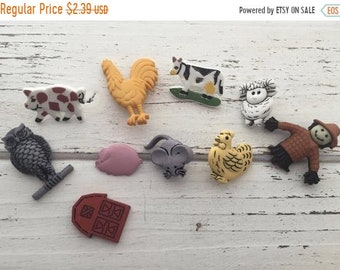 """SALE Farm Buttons, Packaged Novelty Button Assortment """"Barn Buddies"""" Style 4142 by Buttons Galore, Includes Barn, Chickens Cow Pig and More"""