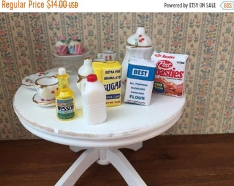 SALE Miniature Food Boxes & Packages, 5 Piece Set, Cereal, Sugar, Flour, Oil and Milk, Dollhouse 1:12 Scale Miniatures, Mini Food, Groceries