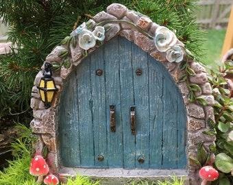 SALE Mini Door, Cobblestone Blue Fairy Door, #4592, Miniature Gardening, Fairy Garden Accessory, Home and Garden Decor, Garden Supply