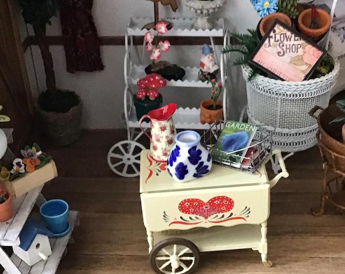 Miniature Blue and White Ceramic Vase, Style #215, Dollhouse Miniature, 1:12 Scale, Dollhouse Decor, Accessory, Mini Vase