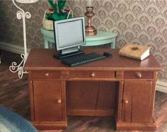 SALE Miniature Desk, Kneehole Desk with Drawers and Shelves, Dollhouse Miniature, 1:12 Scale, Clearance Priced, Last One, Mini Desk