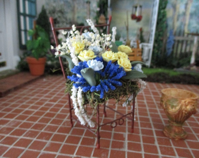 Miniature Decorated Metal Chair, Mini Floral Arrangement Chair, Style #341, Dollhouse Miniature, 1:12 Scale, Dollhouse Chair