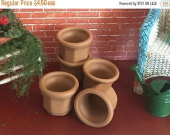 SALE Miniature Flower Pots, Set of 5, Fairy Garden Accessory, Dollhouse Accessory, Miniature Home & Garden Decor, Mini Clay Pots