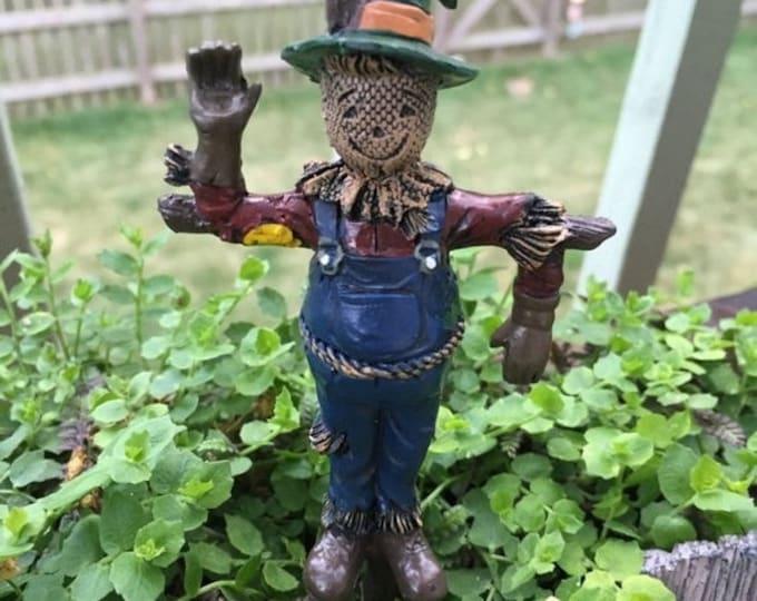 Featured listing image: SALE Miniature Scarecrow, Fairy Garden Accessory, Miniature Gardening, Garden Decor, Topper, Scarecrow with Pick