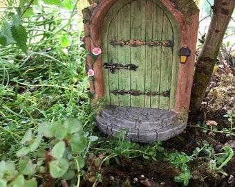 "SALE Miniature Door, ""Mystical Green Fairy Door"", #90, Miniature Gardening, Fairy Garden Accessory, Home and Garden Decor, Garden Supply"