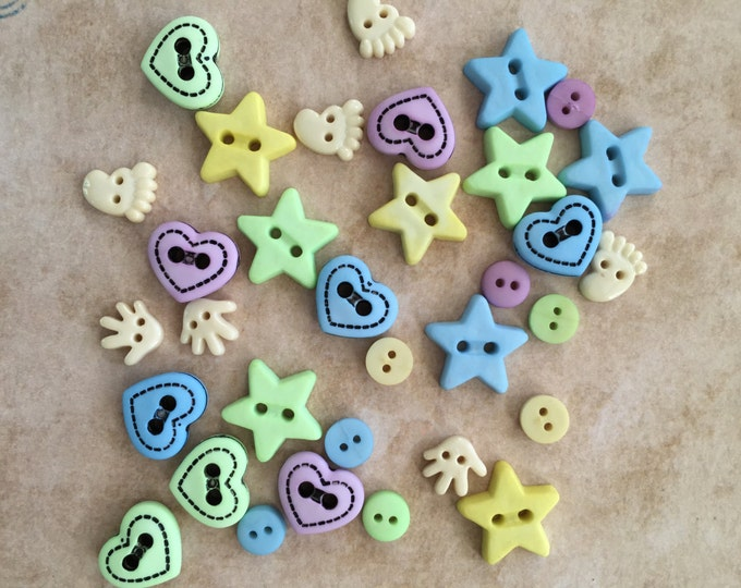 """Baby Buttons and Embellishments """"Baby Shapes"""" Style 4422 by Buttons Galore, Includes Hands, Feet, Stars, Hearts, Sewing, Crafting Buttons"""